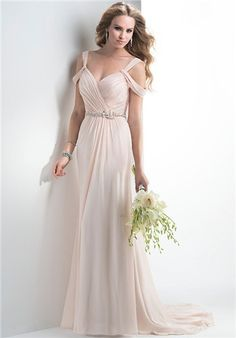 Maggie Sottero Wedding Dresses - The Light pink flowing chiffon is gorgeous for a beach wedding
