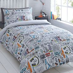 bluezoo Kids' white 'Gadget' duvet cover and pillow case set | Debenhams