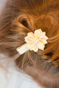New to LaBellaRoseBoutique on Etsy: Ivory Satin clips 2 little pony tail baby toddler child teen women wedding flower girl birthday gift present cream hair clip mini piggy tail (4.50 USD)