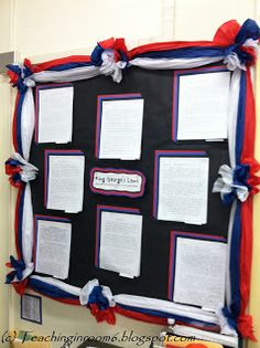Neat bulletin board (with a tutorial on how to make it) so that it isn't just a flat piece of paper.  Stands out and makes a great statement!