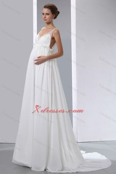 Simple A-line V-neck Brush Train Chiffon Beading Maternity Wedding Dress