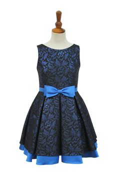 Beautiful Blue Damask Party Dress | David Charles Childrens Wear