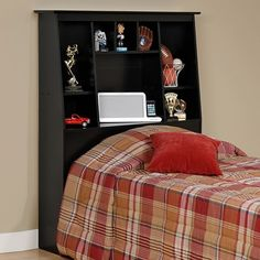 Prepac Twin Tall Bookcase Headboard (brown)