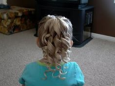 Little Girl's Hairstyles -Pull Through Ponytail with Corkscrew Curls
