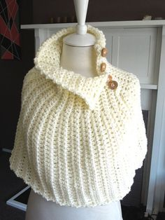 Crochet PATTERN Capelet Quick and Easy to make. My capelet infinity scarf is a versatile garment which can be worn as an outer piece on cool days, as an extra layer under your outer garments, or bunched up to look like an over-sized scarf/cowl.