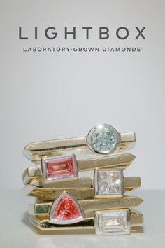 Discover our collection of lab-grown diamond jewelry today, available in soft shades of pink, blue and white.