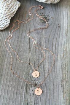 Mehrschichtige erste Halskette feine 14K Rose Gold von potionumber9