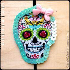 RM Sugar Skull hair clip/headband: Pink & Aqua on Etsy, $12.00