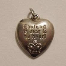 Sterling Silver Puffy Heart Charm - Walter Lampl HTF Bundles for Britain (England is dear to my heart)