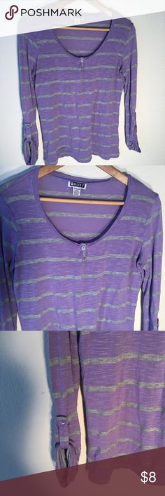 Roxy Purple/Grey Stripe Shirt Button Sleeves Med Soft to the touch. A great weekend shirt. Roxy Tops Tees - Long Sleeve