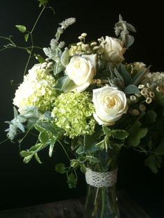 Arrangement of Polo roses, lambs ear, matricaria, white and green hydrangea, vareigated mint, clematis, scented geranium.   Flowers by Amy Potter | Country Way Floral & Event Design Studio