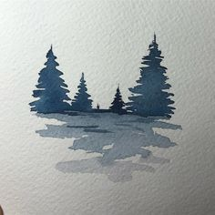 Small watercolor to warm up ^^ It's a rainy day here, perfect to stay at home - Malerei & Kunst Watercolor Trees, Watercolor Cards, Watercolor Landscape, Watercolour Painting, Painting & Drawing, Landscape Art, Easy Watercolor, Watercolor Artists, Watercolor Portraits