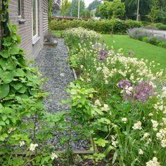 Bij de aanleg van de tuin zijn duurzame materialen gebruikt, ook zijn veel materialen hergebruikt. Vanaf het ontwerpproces is rekening gehouden met duurzaamheid en hergebruik. Zo zijn alle tegels en betonklinkers hergebruikt en zijn plankdelen van een oude schuur gebruikt voor het maken van tafel met zitelement. Het regenwater moet zoveel mogelijk door beplanting en gazon worden opgenomen. In deze tuin sluit de hemelwaterafvoer niet aan op het riool, maar stroomt over de verharding de tuin… Plants, Plant, Planting, Planets
