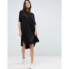 ASOS Oversize T-Shirt Dress with Curved Hem (€30) ❤ liked on Polyvore featuring dresses, black, holiday party dresses, oversized tee shirt dress, asos dresses, tall dresses and t-shirt dresses
