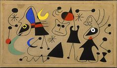 Women and Bird in the Night Artist: Joan Miró (Spanish, Barcelona Palma de Mallorca) Date: 1944 Medium: Gouache on canvas Joan Miro Paintings, Small Paintings, Wassily Kandinsky, Aboriginal Art, Art Plastique, Elementary Art, Metropolitan Museum, Art Lessons, Art History