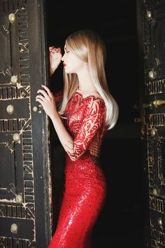 subtly sparkled beautiful red dress