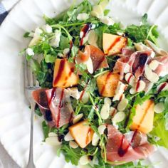 This Arugula, Cantaloupe, and Prosciutto Salad is a savory way to enjoy seasonal cantaloupe with a great salty, sweet, and tangy balance!