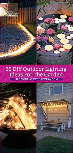 DIY Outdoor Lighting, Lighting Ideas for the Garden, DIY Backyard Lighting, Backyard Lighting, Outdoor Lighting, Outside Party Lighting, Backyard Lights Diy, Garden Lighting Ideas, Accent Lighting, Tree Lighting, Diy Lampe, Landscape Lighting Design