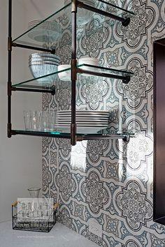 Glass Shelves With Doors Rustic Kitchen Cabinets, Old Kitchen, Glass Shelf Brackets, Glass Shelves, Elkay Sinks, Grey Doors, Best Insulation, Mosaic Backsplash