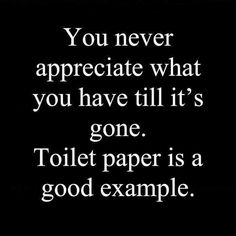 You never appreciate what is gone toilett paper