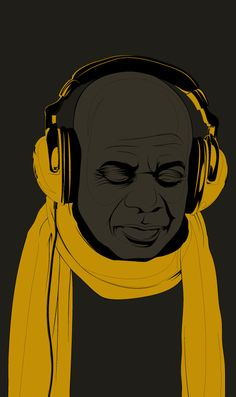 I really like the emphasisin this image.  Everyhing else is gray scale and the scarf and head phones stand out.  I am a fan of images that use one color to show emphasis.
