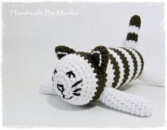 Amigurumi stripy cat crochet baby rattle  stuffed toy  от ByMarika, $33.00