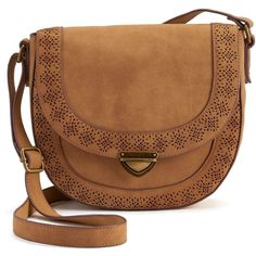 SONOMA Goods for Life™ Willa Saddle Crossbody Bag ($30) ❤ liked on Polyvore featuring bags, handbags, shoulder bags, brown purse, brown cross body, cross-body handbag, laser cut purse and locking purse
