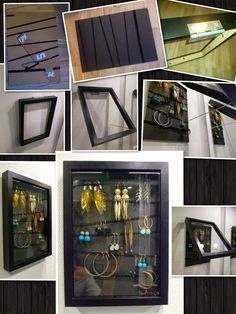 DIY earring organizer from an Ikea RIBBA frame / Ikea Hackers.  The back of the frame is wrapped in hair elastics to hang the earrings from.