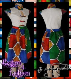 Traditional Ndebele dress, white bodice, chinese collar, cap sleeves and button detail in Ndebel print. Bottom of dress in full Ndebele print.