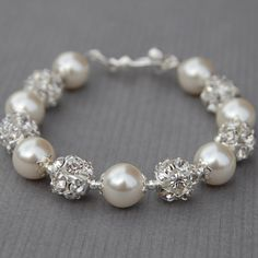 Bridal Ivory Pearl and Rhinestone Bracelet, Sparkling Wedding Jewelry, Bling Bracelet, Bridesmaid Jewelry