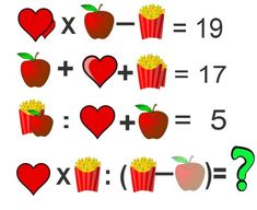 Brain teaser - Number And Math Puzzle - Hearts, apple and popcorn - Logic puzzle Riddles Logic, Math Logic Puzzles, Number Puzzles, Math Numbers, Math Worksheets, Picture Logic, Picture Puzzles, Fun Math, Math Games
