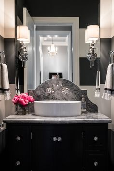 Stunning Dark Cabinets Paired With Black And White Striped Walls Luxury Bathroom Interior Design Done