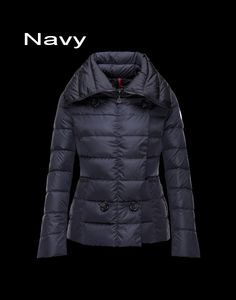Moncler Palas Women Light Bright Double Breasted Jacket Navy Free Shipping