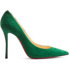 Christian Louboutin Decoltish 100mm suede pumps ($580) ❤ liked on Polyvore featuring shoes, pumps, green, stiletto heel pumps, heels stilettos, stilettos shoes, pointy-toe pumps and suede pointed toe pumps