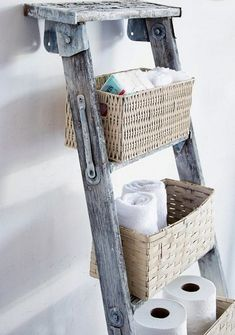 How many times have you seen a ladder on the scrap heap?  Maybe you've got one or two languishing in the shed.  Here are some ways you can put them to good use. These dingy old ladders are ready for the dump, but are given a new life! Which of these clever ideas can you apply in your home? Click on any image to start lightbox display.  Use your Esc key to close the lightbox.  You can also view the images as a slideshow if you prefer   Bathroom Storage Need more storage in your bathroom? K...