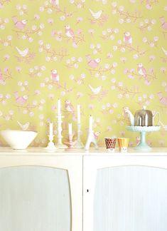 Tapete Sugar Tree von Majvillan - Soft Yellowgreen/ Pink-2013.3