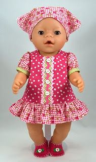 Free Baby Born® Doll Clothes Pattern in English Baby Dress Sewing Doll Clothes, Sewing Dolls, Girl Doll Clothes, Girl Dolls, Baby Dolls, Diy Clothes, Dress Sewing, Reborn Dolls, Reborn Babies