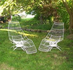 Vintage 1960 S Pair Bananna Lounge Chairs White Metal Wire Homecrest Patio Lawn Furniture Mid Century Modern Retro Bertoia Knoll Eames Era