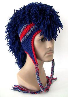 Dark Blue Mohawk with Red Stripe and Grey- Crochet | UnexpectedTreasure - Crochet on ArtFire