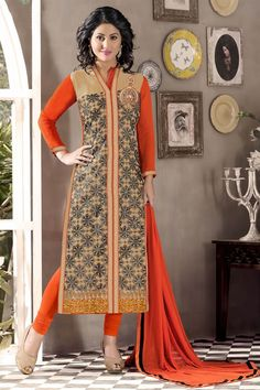 This beige color georgette dress material is beautifully adorned with fancy embroidery work and border that makes it a must have outfit for parties and functions.