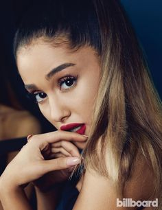 Ariana Grande wears a bold red lip color for Billboard Magazine May 2016 issue