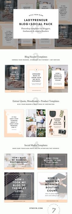 Ladypreneur Blog + Social Pack by Station Seven on @creativemarket