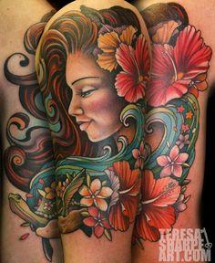Image result for hawaiian girl art