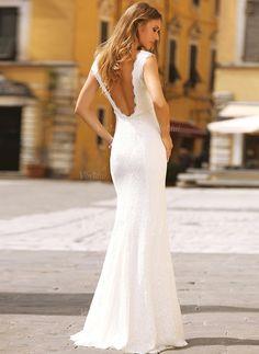 Brautkleider - $203.55 - Trompete/Meerjungfrau-Linie U-Ausschnitt Sweep/Pinsel zug Spitze Brautkleid mit Perlenstickerei (0025098919)