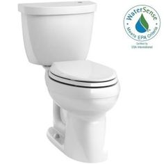 KOHLER Cimarron Touchless Comfort Height 2-piece 1.28 GPF Elongated Toilet with AquaPiston Flushing Technology in White K-6418-0 at The Home Depot - Mobile