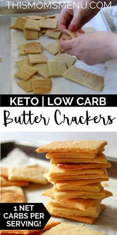 Keto Butter Crackers These keto crackers are easy to make and are the perfect canvas for your favorite low carb dips, spreads, and toppings. They are buttery and super flaky plus they come together in a snap with only 4 ingredients! Low Carb Recipes, Diet Recipes, Snack Recipes, Dessert Recipes, Primal Recipes, Paleo Meals, Paleo Food, Healthy Recipes, Wrap Recipes