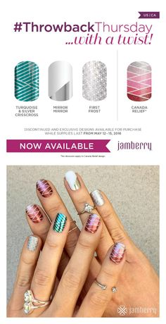 #ThrowbackThursday with a twist!!! Get these 4 exclusive wraps through Sunday (5/15) while supplies last!! I am in LOVE!!! #CanadaRelief #TBT #Jamberry #Exclusivedesigns #diynails #nailwraps #nailart https://glamjamkh.jamberry.com/us/en/