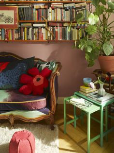 books, plants and pillows