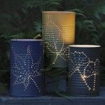 Look at these DIY tin can lanterns!  They could be used as a centerpiece or just decoration.  #wedding #diy
