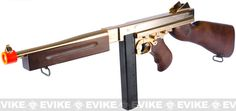 Evike.com Airsoft Guns - Airsoft Guns   Evike.com Airsoft Guns - Shop By Rifle Models   Evike.com Airsoft Guns - Thompson   Evike.com Airsoft Guns - King Arms Thompson M1A1 Military Airsoft AEG Rifle - Gold Plated Limited Edition  